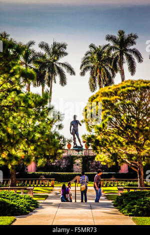 People view replica of Michelangelo's David atop the magnificent sunken gardens at the Ringling Museum of Art in - Stock Photo