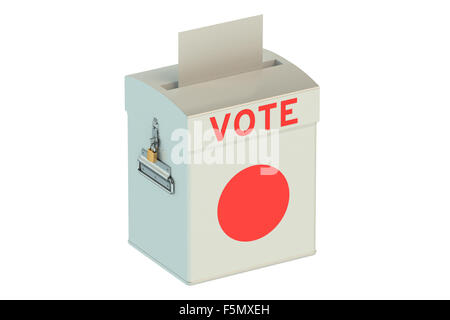 ballot box with flag of Japan  isolated on white background - Stock Photo