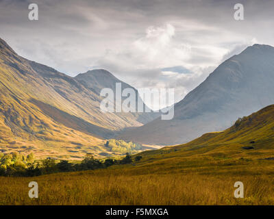 Valley of Glencoe in the sunshine after a rain storm - Stock Photo