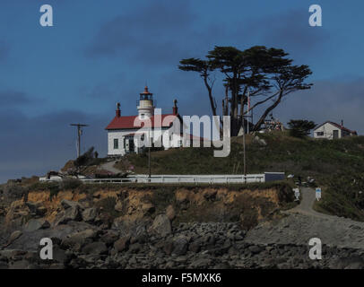 Historic (1856) Battery Point Lighthouse, Crescent City, California, Pacific Coast. - Stock Photo