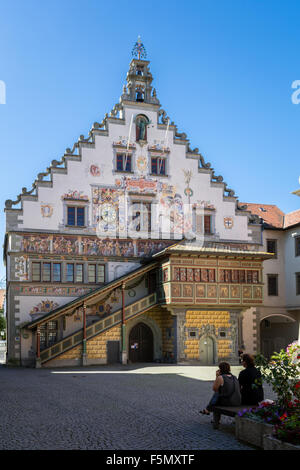 The town hall of the little city of Lindau Bavaria in Germany. - Stock Photo