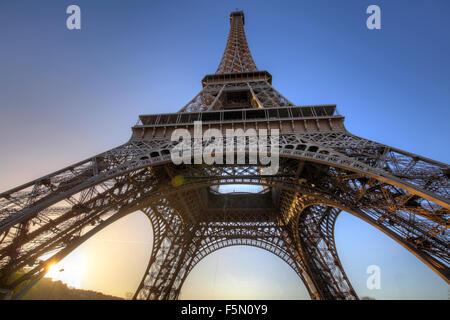Eiffel Tower at sunrise, Paris, France - Stock Photo