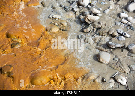 A river full of water contaminated by mine effluent, mixing with raw sewage in La Paz, Bolivia. La Paz will probably - Stock Photo