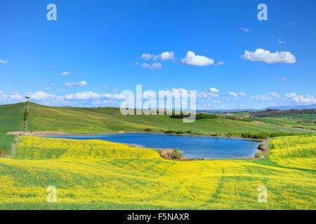 Tuscany, Crete Senesi landscape near Siena, Italy, europe. Small blue lake, green and yellow fields, blue sky with - Stock Photo