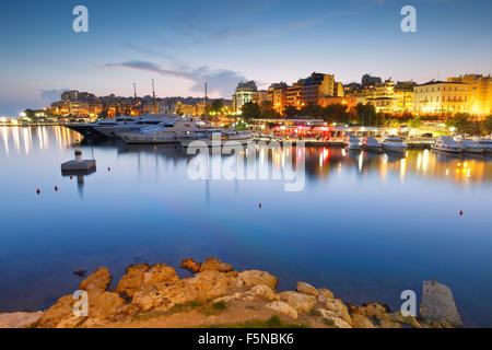 Evening view of Zea Marina in Athens, Greece - Stock Photo