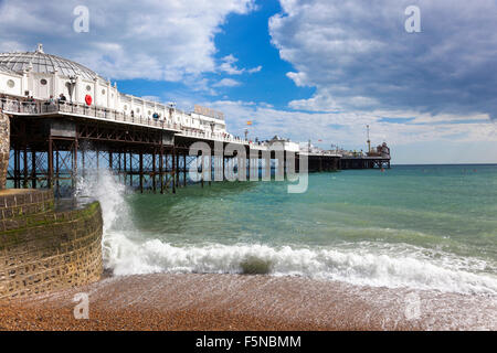 Brighton Pier in Brighton, UK - Stock Photo