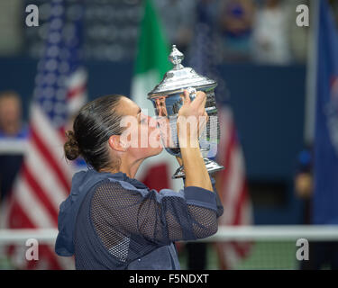 Flavia Pennetta with the trophy at the 2015 US Open Flushing Meadows,USTA Billie Jean King National Tennis Center, - Stock Photo