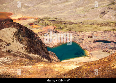 Colourful lakes below the peak of Chacaltaya in the Bolivian Andes. - Stock Photo