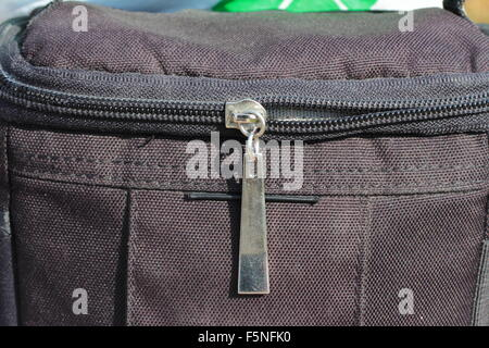 Zipper closure on the bag close-up - Stock Photo