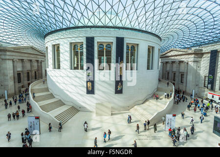 High angle view of the Queen Elizabeth II Great Court, British Museum, Bloomsbury, London, England, UK. - Stock Photo