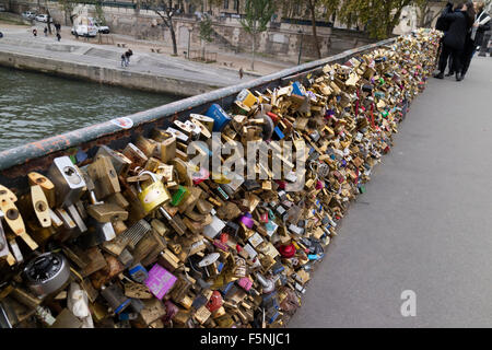 Padlocks on the  Pont des Arts in Paris - Stock Photo