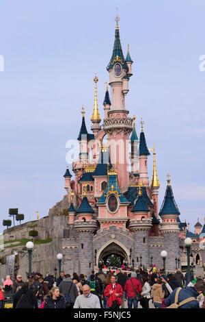 Sleeping Beauty Castle, Fantasyland, Disneyland Paris theme park, Marne-la-Vallée, Île-de-France, France - Stock Photo