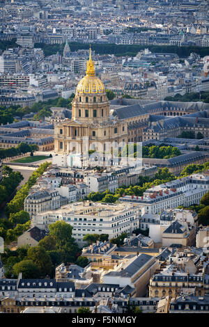 Aerial view of gold dome of the Invalides rising above rooftops of the 7th arrondissement, on the Left Bank of Paris, - Stock Photo