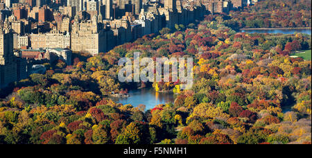 Aerial view of Central Park, The Lake and Upper West Side with colorful Fall foliage. Autumn in Manhattan, New York - Stock Photo