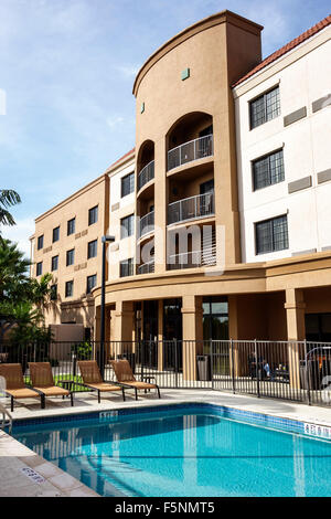 Stuart Florida Courtyard by Marriott hotel motel outside exterior swimming pool area - Stock Photo