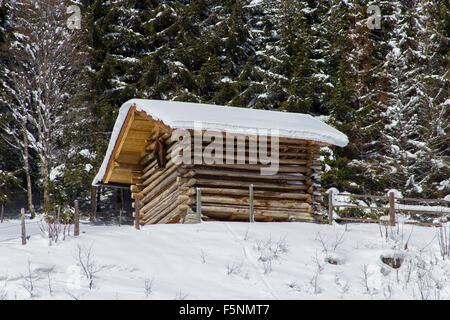 Winter landscape, Austria alps. Mountain with hut. Gastein, salzburg - Stock Photo