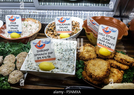 Florida Jensen Beach New England Fish Market seafood restaurant inside food display take-out away shrimp spinach - Stock Photo