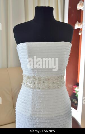 white Wedding Dress in American style - Stock Photo