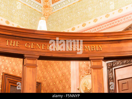 The General Assembly sign on wooden beam inside Illinois State Capital Building Springfield, Illinois, USA - Stock Photo