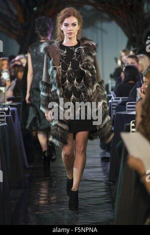 Calgary, Alberta, Canada. 7th Nov, 2015. A female model walks the Catwalk at HOLT RENFREW's Fashion Gala in Calgary - Stock Photo