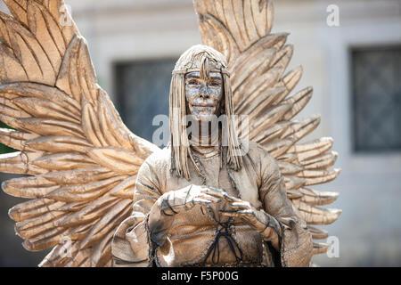 Human statue street entertainers along La Rambla,La Ramblas, street, Barcelona,Catalan, Catalonia,Spain - Stock Photo