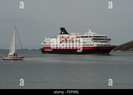 Hurtigruten sailing in fjord, Bodo Norway - Stock Photo