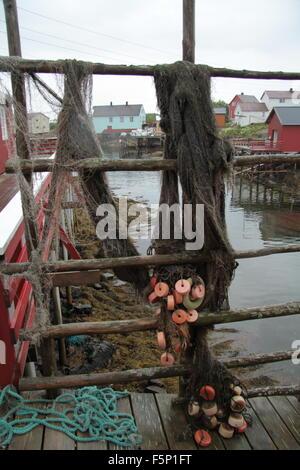 Fishing nets Henningsvaer, Lofoten Islands Norway - Stock Photo