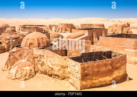 Buildings in Ong Jemel, Tunisia. Ong Jemel is a place near Tozeur, where the movies Star wars - Stock Photo