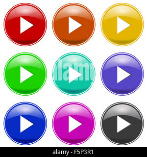 Set of Colorful Play Icons - Stock Photo