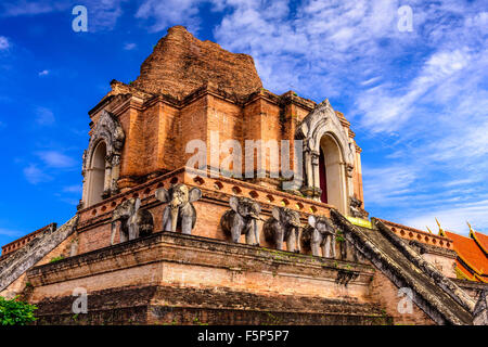 Wat Chedi Luang temple ruins in Chiang Mai, Thailand - Stock Photo