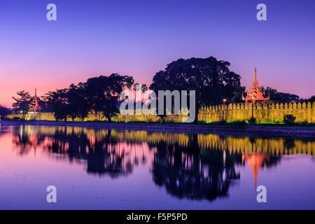 Mandalay, Myanmar at the royal palace moat. - Stock Photo