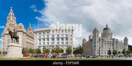 Panoramic view of the buildings known as the Three Graces, Liverpool, UK - Stock Photo