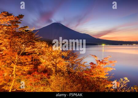 Fuji Mountain, Japan from Yamanaka Lake in the autumn. - Stock Photo