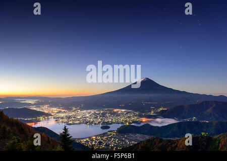 Kawaguchi Lake, Japan with Mt. Fuji. Stock Photo