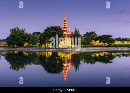 Mandalay, Myanmar at the palace wall and moat - Stock Photo