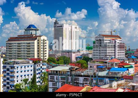 Yangon, Myanmar downtown core skyline. - Stock Photo