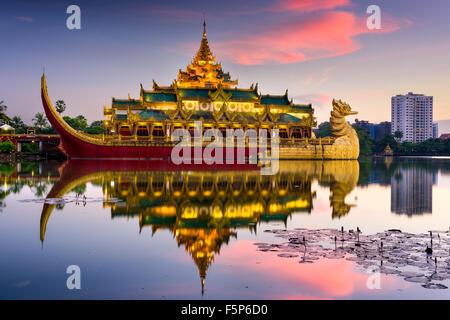 Yangon, Myanmar at Karaweik Palace in Kandawgyi Royal Lake. - Stock Photo