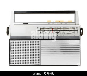Old fashioned radio isolated on a white - Stock Photo