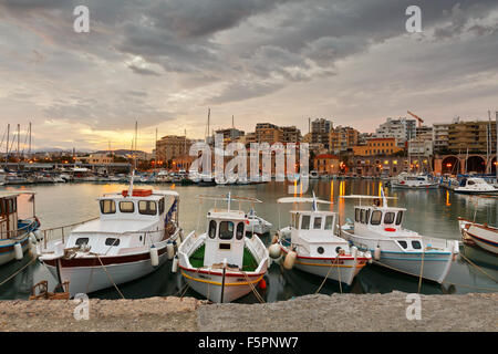 Old harbour with fishing boats and marina in Heraklion, Crete, Greece - Stock Photo