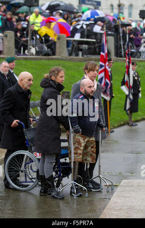 Blackpool, Lancashire, UK 8th November, 2015.  Remembrance Sunday Parade. His legs were blown off in Afghanistan, - Stock Photo