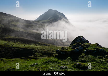 Chrome Hill rising above cloud in the Peak District, UK - Stock Photo