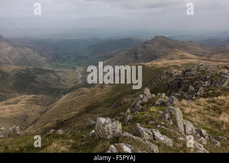 looking from crinkle crags down the great langdale valley toward pike o blisco - Stock Photo