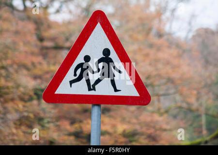 Playground sign at Elan village in Elan Valley, Mid Wales - Stock Photo