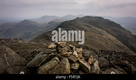 from the summit of Bowfell looking back across crinkle crags - Stock Photo