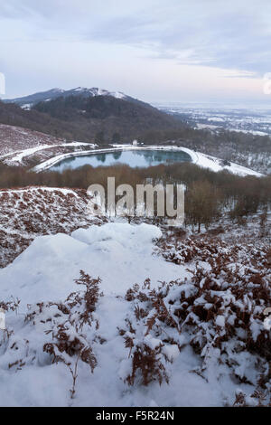 Snow at the Reservoir at British Camp, part of the Malvern Hills in Herefordshire and Worcestershire. - Stock Photo