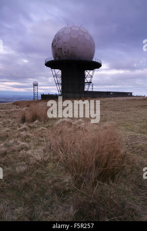 Radar domes and radio masts on the top of Titterstone Clee Hill, Shropshire, England - Stock Photo