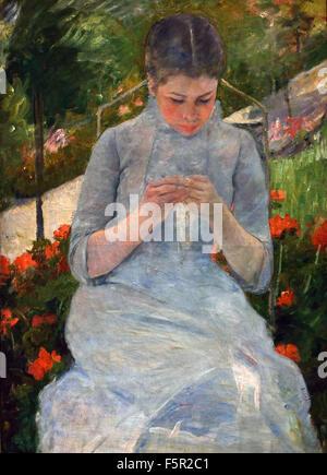 Jeune fille au jardin aka Femme cousant - Girl in garden aka Woman sewing 1880-1882 Mary Cassatt  France French - Stock Photo