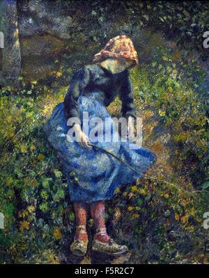The Shepherdess. 1881  Camille Pissarro 1830 - 1903 France French - Stock Photo