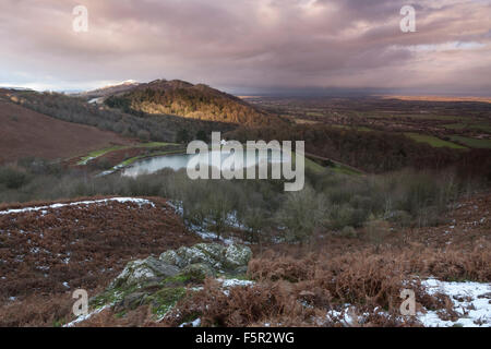 The Reservoir at British Camp, part of the Malvern Hills in Herefordshire and Worcestershire at sunset. - Stock Photo