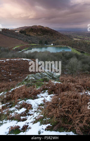 The Reservoir at British Camp, part of the Malvern Hills in Herefordshire and Worcestershire at sunset with patches - Stock Photo